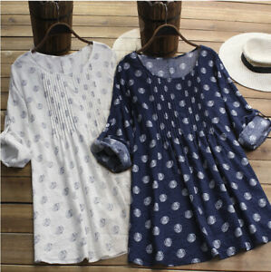 Plus Size Women Printed Dot T-Shirt Dress Ladies Casual Baggy Tunic Tops Blouse