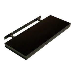 Hudson High Gloss Black Floating Shelf Wall Mounted Display Shelving Kit Shelves