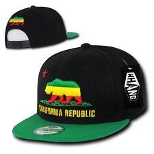 California Republic Green / Yellow / Red Rasta Bear Snapback Snap Back Cap Hat