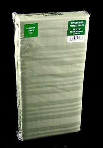 Green Striped Fitted Sheet Single Bed Size 15 Inch Extra Deep Fully Elasticated