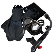 Snorkeling Dive Mask Goggles Dry Snorkel Fins Flippers Bag Water Sport Gear Set