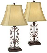Traditional Table Lamps Set of 2 Iron Bronze Scroll for Living Room Bedroom
