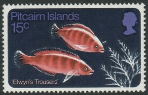 Pitcairn Islands 1970 15c Fish with Inverted Watermark SG 113w Mnh.