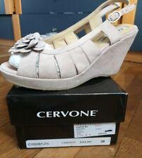 Scarpe donna sandalo CERVONE n 38 ROSA cipria aperte zeppa Italy, fiore, usate