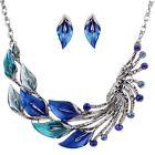 Fashion Peacock Tail Pendant Chunky Statement Bib Chain Choker Necklace Jewelry