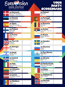 Eurovision 2021 party pack print at home PDF scoreboard, badges, voting cards
