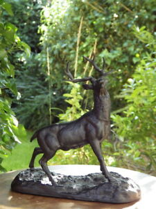 ANTIQUE 19th Century Blackened Spelter FIGURE OF A STAG