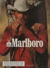 1989 Marlboro Cigarettes Vintage Ad Cowboy Lighting Cigarette Mustache Smoking