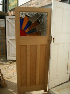 Reclaimed 1930s art deco stripped pine, stained glass door