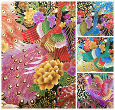 Japanese peacock fabric, metallic birds, gold oriental cotton, 3 colours asian