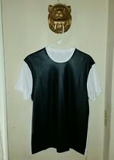 $305.00 Men's  Neil Barrett White & Black Leather Effect T-Shirt   size Small
