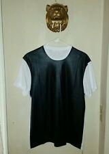 $305.00 Men's  Neil Barrett White & Black Leather Effect T-Shirt   size Small