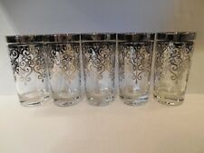 Vintage Lot of Five Silver Scroll Highball Glasses Retro Mad Men Mint Condition