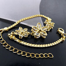 BRACELET BANGLE 18K YELLOW G/F GOLD DIAMOND SIMULATED ANTIQUE FLOWER DESIGN