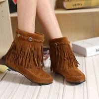 WOmen's Hidden Wedge Heels Round toe Tassels Suede Leather Winter Ankle Boots