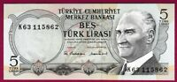 *QWC*   TURKEY 5 Lira - P179 - 1976 UNC - Waterfall