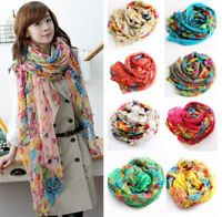 Womens Lady Long Flower Print Voile Scarf Silk Soft Shawl Wrap Neck Warm Stole