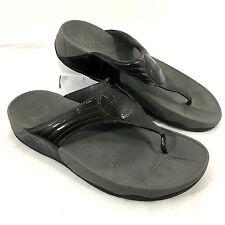 Women's FitFlop Flip Flop Sandals Patent leather Dark Gray Walkstar 3 Sz 10