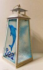 "Lantern Candle Holder - Nautical Ocean Blue Dolphin ""Sea"" - Metal/Glass"