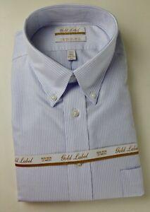 Roundtree & Yorke Gold Label Non Iron EZ NWT Striped Oxford Cotton Dress Shirt