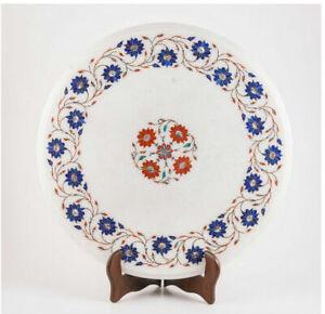 "15"" Round Marble Table top Inlay Floral semi precious stones Art Decor"