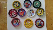 10 Spongebob Squarepants bottle cap magnets cupcake topper stocking Christmas