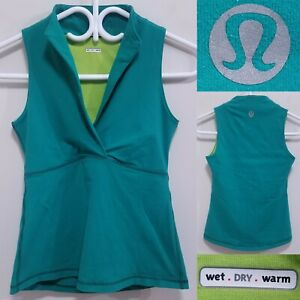 Lululemon Teal Green Tank Top Size 6 Small Yoga Shirt Wet Dry Warm