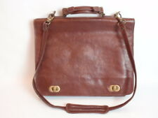 Vintage Italian Brown Leather Briefcase Attache Cuoierla Florentina Flap Closure