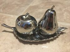 Salt And Pepper Shakers Set Steel Leaf Holder Pear & Apple