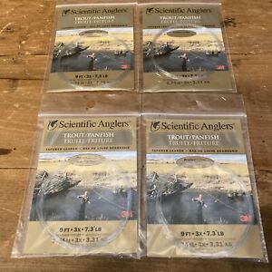 New Lot 4 Scientific Anglers Trout Panfish Tapered Leader 9 Ft 3X 7.3 LB