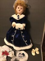 "Doll Dress-Blue Velvet Ball Gown-18""-19""Doll-Porcelain Composition-Shirley (R10)"