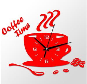 3D DIY Acrylic Wall Clock Modern Kitchen Home Decor Coffee Time Clock Cup Shape