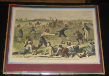 19th Century Sol Eytinge Jr Multicolor Matted Print Blacks Playing Baseball