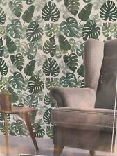 Green Palms Wallpaper Peel and Stick approx 60 sq ft ( 2 rolls 1.7' x 18' each)