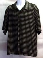 "JOHN HENRY Men""s Short Sleeve *Gray/Black Checked* Casual Shirt Size (XL)"