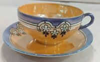 Vintage Japan Lusterware Cup And Saucer Deco Flowers