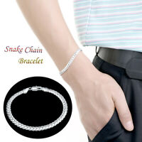 925 Solid Silver Men Womens Snake Chain Bracelet Bangle Wedding Jewellery Gift