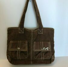 Roxy Corduroy Satchel Bag Handbag 2 Strap Purse Bag Brown Women's