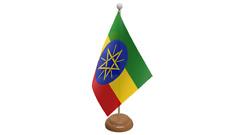 Etiopía (con STAR) pequeño de MESA BANDERA CON MADERA SOPORTE