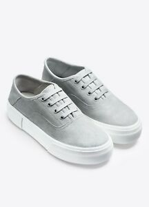 NIB Vince Copley Italian Sport Suede Platform Lace-Up Sneaker Cloud (Grey) $250