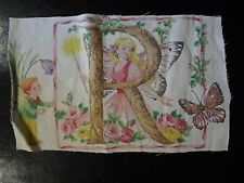 Vintage FAIRY LETTER 'R' Fabric Panel (23cm x 14cm)