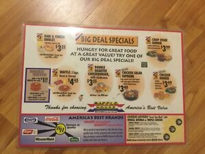 Vintage WAFFLE HOUSE laminated Placemat/menu Big Deal Specials! 10.5x14.5 #2