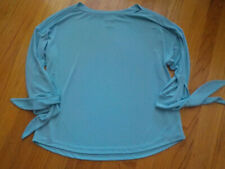NWOT Easywear Chico's Size 1 M/8 Slinky Popover Baby Blue Tie Sleeves Boat Neck