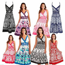 Women's Floral Strappy, Spaghetti Strap Sundress Calf Length Dresses