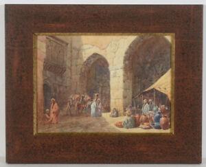 "Otto Tilche (ca.1821-1894) ""In a courtyard in Cairo"" watercolor"