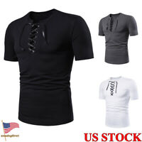 Mens V-Neck Lace Up T-shirt Solid Color Shirts Short Sleeves Tops Tee Size XS-XL