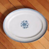 "Vista Alegre Portugal Platter 14"" Blue White Floral Gold Rim Porcelain VIA88"