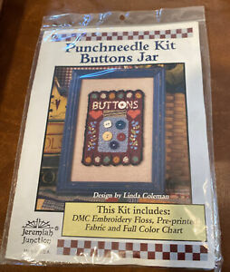 Punchneedle Kit Buttons jar New