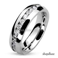 MEN'S ROUND CUT CZ STAINLESS STEEL ETERNITY WEDDING RING BAND SIZE 7-13