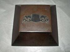 Amazing ARTS CRAFTS Hand Crafted COPPER INKWELL & Insert SILVER DRAGON SHIELD